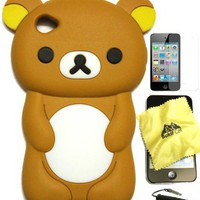 BUKIT CELL (TM) BROWN Bear 3D Cartoon Soft Silicone Skin Case Cover for IPOD TOUCH 4 4G 4TH GENERAT