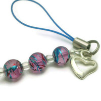 PIF - Small Silver Heart Cell Phone Charm, Zipper Pull, Purse Charm - Purple, Blue, Swirl