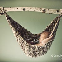 Hand Knit Baby Hammock Newborn Photo Prop Birch Color  by 4aSong