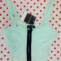 Topshop UK 6 Mint Green Crop Top
