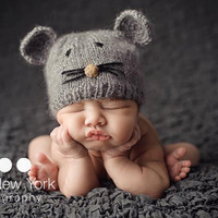 Little Mouse grey mohair hat for newborn/ baby by BabiesRepublic