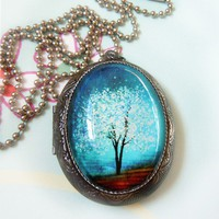 Sapphire Wind Wearable Art Locket by saruscrafts on Etsy