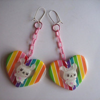 Rainbow Heart and Bunny Earrings from On Secret Wings