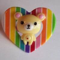 Rainbow Heart Teddy Bear Ring from On Secret Wings