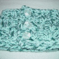 Cowl Scarflette with 3 Buttons Marble TEAL Warm Chunky Unisex