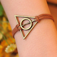Harry potter bracelet,retro bronze Deathly Hallows,brown wax rope bracelet---B044