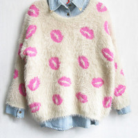 Vintage Lips Pattern Super Warm Sweater from 1Point99.com