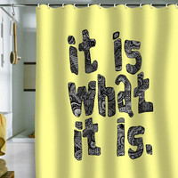 DENY Designs Home Accessories | Romi Vega What It Is Yellow Shower Curtain