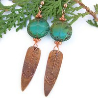 Copper Peacock Feather Handmade Earrings Aqua Czech Glass OOAK Jewelry