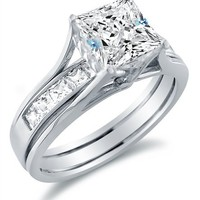 Solid 14k White Gold Bridal Set Princess Cut Solitaire Engagement Ring with Matching Channel Set We