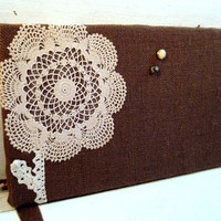 Bulletin Board made from Burlap and a vintage embroidered doily flower and lace border, Photo Memory Board, rustic country style