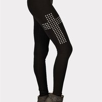 Side Swipe Cross Leggings - Black