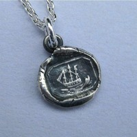 petite ship wax seal necklace wax seal jewelry by suegrayjewelry