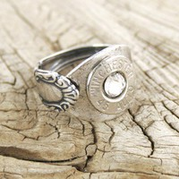 Antiqued Silver Plated Spoon Bullet Ring