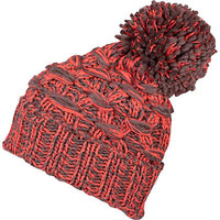 Orange and charcoal basket weave beanie hat