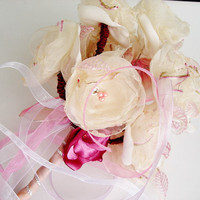 Handmade Bridal hand Flowers Ivory Cream Pink Little by seragun