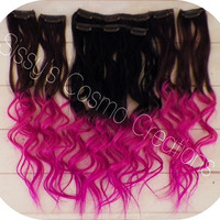 12&quot; Pink Passion Ombre Dip Dye Clip In Human Hair Extensions Sample