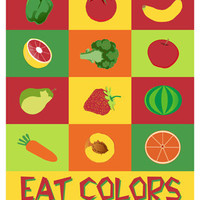 Kitchen art food print Eat Colors by Visuaria on Etsy