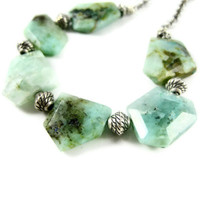 Stone Necklace Azurite Chunky Necklace Aqua Blue by LeafAndTendril