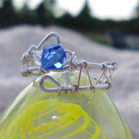 "Sapphire & Diamond Glass Bead, Wire Wrapped and Weaved Silver Ring, ""Unity"""