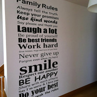 Vinyl Wall Housewares - Family Rules Decal