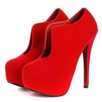 Red Suede Style Stiletto Heel with Curve Side Detail