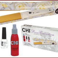 "Farouk CHI Rose Collection Flat Iron, White, 1"", w/Iron Guard and Nail Polishes"