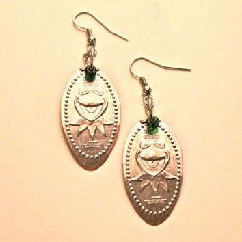 Kermit the Frog Pressed Dime Earrings by MaryLouiseDesigns on Etsy