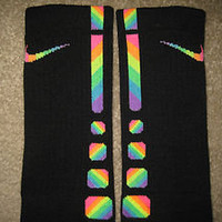 BRAND NEW Custom ZIG ZAG Rainbow Nike Elite Socks Sz Large (8-12)