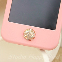 1PC Paved Bling Crystal Ball Apple iPhone Home Button Sticker, Cell Phone Charm for iPhone 5,4,4g,4s