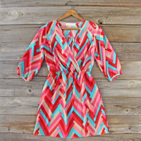 Pink Canyon Chevron Dress, Sweet Women's Bohemian Clothing