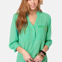 Skinny Zipping Mint Green Top