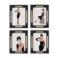Dictionary print AUDREY HEPBURN 4 art prints on by EphemeraAndMore