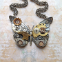 Steampunk Butterfly Necklace - Custom Design Brass Gold Butterfly with Watch Gears Brass Flowers and Jewels