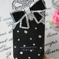 Luxury Diamond Crystal Bowknot Hard Case Cover For iPhone 4 4G 4S Black wrd11