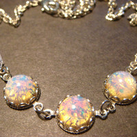 Beautiful  Simulated Fire Opal Necklace in Antique Silver (853)