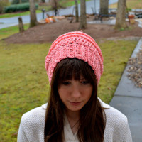 Bright Pink Crocheted Slouch Hat