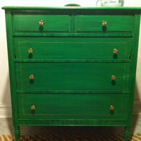 100 Year Old Refinished Kelly Green Dresser