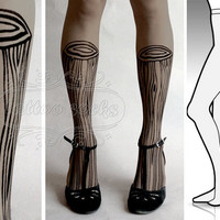 L/XL Grey sexy Wooden Legs tattoo tights / stockings/ full length / pantyhose / nylons