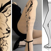 Ultra Pale sexy Oh Deer tattoo tights / stockings/ full length / pantyhose / nylons