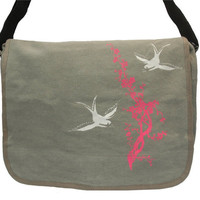 Canvas Messenger Bag  Sparrows Birds Swallows  by COTTONSPACESHIP