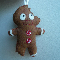 Terrified Gingerbread Man  Funny Ornament by TheOffbeatBear