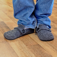 Crochet Pattern  Opa Slippers Child/Men sizes 113 by Mamachee