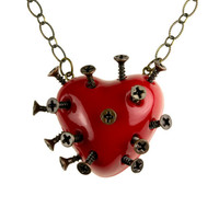 Red Steampunk Broken Heart Necklace With Screws (goth, jewellery, punk, emo, alternative, industrial, indie, Rockabilly, Lolita, Cyber)