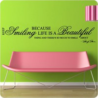 Marilyn Monroe LONG Keep Smiling - WALL STICKER DECAL QUOTE ART MURAL Large Nice