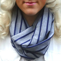 Infinity scarf - heather grey and navy blue stripe scarf - loop scarf - tube scarf - hipster