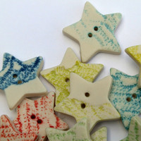 5 Handmade Star Shaped Porcelain Lace Buttons