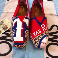 Custom Hand Painted Texas Rangers Toms