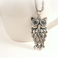 Owl Necklace Antique Silver Pendant Charm Woodland by shopkim