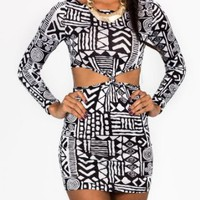 Amazon.com: Tribal Printed Cut-Out Dress: Clothing